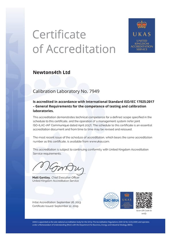 N4L UKAS ISO17025 Power Calibration Certificate 2019
